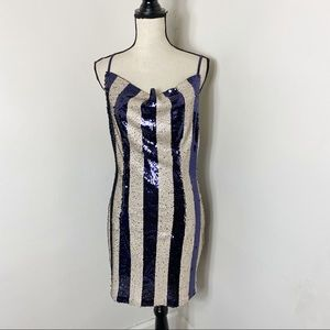 NWT Aakaa Navy Cream Striped Sequin Low Back Dress